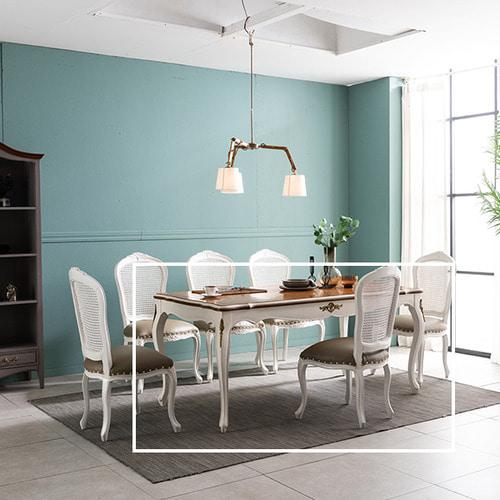 수입엔틱 아르띠 아이보리 6인 식탁 테이블